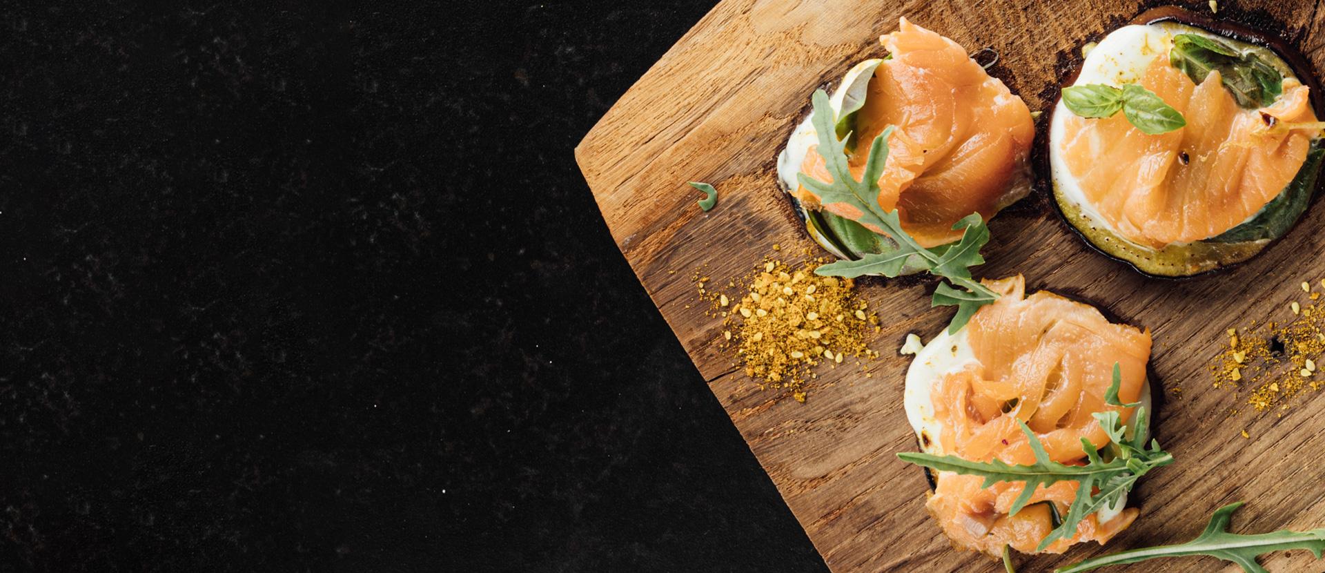 Tartelette d'aubergines et au saumon fumé